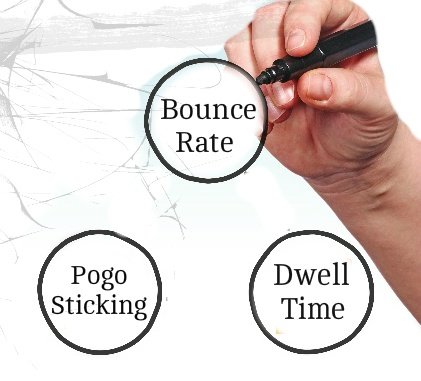 Difference between bounce rate, Pogo Sticking and Dwell Time?